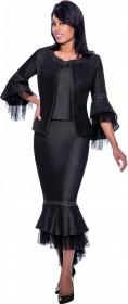 Devine Sport 62353 Sheer Ruffle Trim Denim 3pc Dress