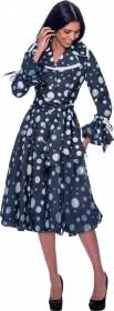 Devine Sport 62321 Polka Dot Button-front Denim Dress