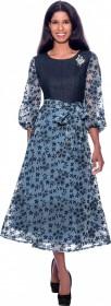 Devine Sport 62331 Denim and Sheer Floral Dress